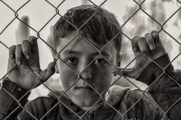 Boy Fence Poverty Hungry Sad Desperate Poor
